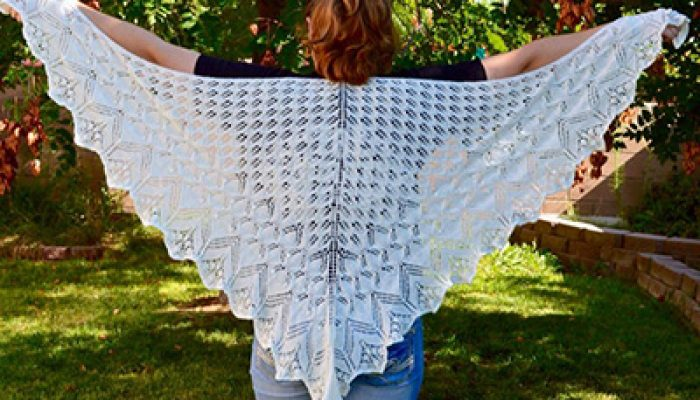 white knit wedding shawl