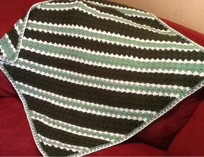 corner to corner crochet blanket green