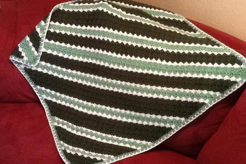 corner to corner blanket in green